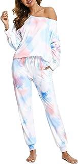 Pijamas de Mujer, Tie Dye Mujer Conjunto de Pijama Mujer Pijamas Mujer de Manga Larga Hombro de Fuga con Bolsillo, Pijama Tie-Dye Degradado de Cuello Redondo con Cordón para Casual Trotar