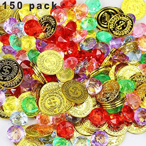 LIZHIGE Goldmünzen des Piratenschatz und Piraten Schmucksteine, 50 Stücke Goldmünzen Kinder und 100 Stücke Piraten Edelsteine, Schätze für Schatzsuche Kindergeburtstag