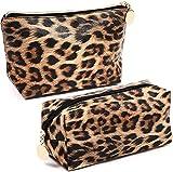 2 neceser de maquillaje portátil de viaje, de piel sintética, con bolsa de maquillaje, resistente al agua y duradero (leopardo)