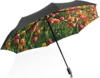 Upside Down Umbrellas with C-Shaped Handle for Women and Men Reverse Inverted Windproof Tropical Pattern With Sloth And Cactus Umbrella Double Layer Inside Out Folding Umbrella