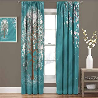 GUUVOR Spring Room Darkened Heat Insulation Curtain Abstract Clouds Birds Teal Living Room W72 x L72 Inch