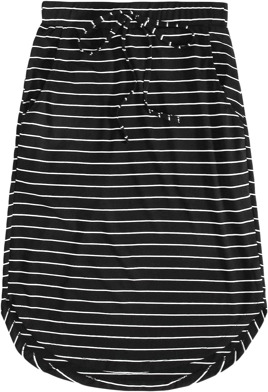 Milumia Women's Striped Elastic High Waist High Low Curved Hem Tie Front Short Skirt
