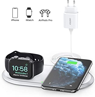 CHOETECH Cargador Inalámbrico MFi, 2 en 1 Wireless Charger[con Adaptador QC3.0]para iWatch Series 1/2/3/4/5, Airpods Pro/2, 7.5W para iPhone 11 Pro/11/SE 2/XS/XR/X/8, 10W Galaxy S20/S10/Note 9/S8 etc.