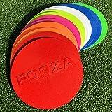 FORZA Disques de Marquage avec Sac - 10 x Cones Plâts Anti-Glisses pour Entraînements (Variété de Couleurs) (Multicolore)