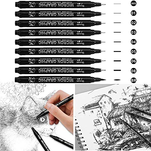 El Bolígrafo de Caligrafía Negro, El Marcador de Pincel Negro Es Muy Adecuado Para Dibujar Documentos de Oficina de Ilustradores de Dibujo Técnico Es La Mejor Opción Para Principiantes