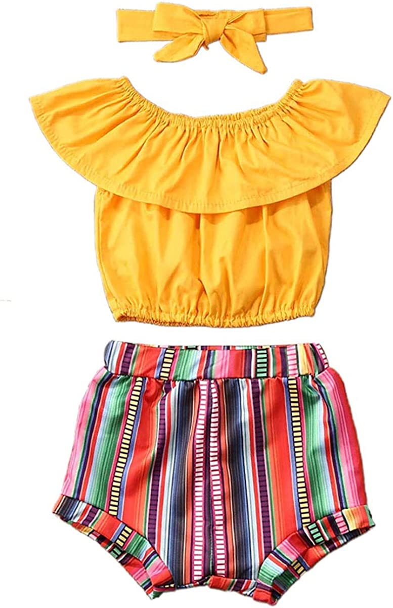 Toddler Baby Girl Yellow Off Shoulder Tops+ Ruffled Rainbow Striped Shorts with Bowknot Headband Two Piece Summer Outfit Set