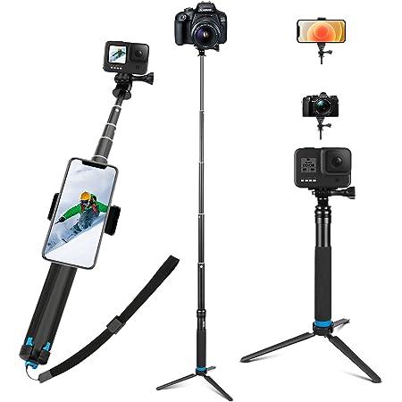 JYPS Perche à Selfie pour GoPro, étanche Perche Selfie avec Trépied en Alliage d'Aluminium + Clip pour Téléphone pour GoPro Hero 9 Black 8 7 6 5 Black, AKASO, Xiaomi Yi,SJCAM SJ4000 SJ5000 More