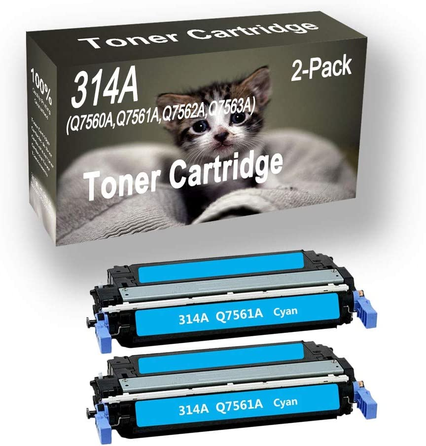 2-Pack (Cyan) Compatible High Yield 314A Q7561A Printer Toner Cartridge use for HP Pro 2700 2700n Printers