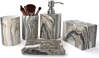 kaileyouxiangongsi Showering and Brushing Set, Includes Soap Dispenser with Stainless Steel Pump, Toothbrush Holder, Tumbler and Soap Dish, Grey