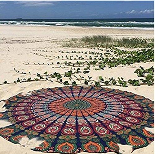 Mantel de playa de algodón de TFXWERWS, mantel de algodón redondo de estilo hippy, bohemio, gitano, con diseño de mándala indio, ideal como tapete, toalla de playa