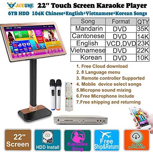 Fantastic Deal! 6TB HDD 104K Chinese+English+Vietnamese+Korean Songs 22'' Touch Screen Karaoke Playe...