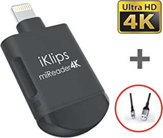 A ADAM ELEMENTS iKlips miReader MicroSD 4K Card Reader Compatible for iPhone iPad External Memory Storage Charger - Store, View, Edit, Record 4K Video from GoPro, Drones, Camera