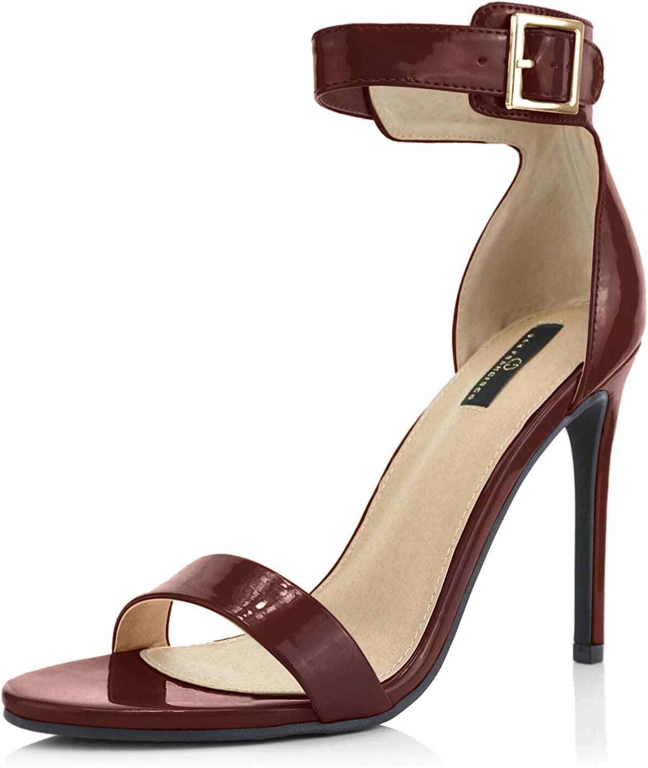 DailyShoes Women's Stiletto In a popularity Challenge the lowest price of Japan Heels Open Ankle Toe Pl Buckle Strap