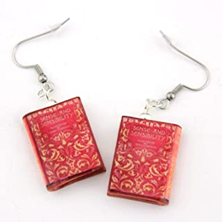 Sense and Sensibility Jane Austen First Edition Clay Mini Book Hypoallergenic Dangle Hook Earrings