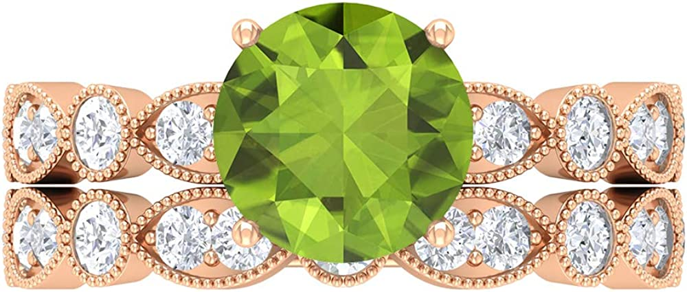 Solitaire Wedding Ring Set, 2.93 CT Round Gemstones, D-VSSI Moissanite 8 MM Peridot, Gold French Setting Engagement Ring, Stacking Eternity Band, 14K Gold