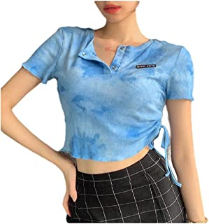 neveraway Womens Blouse Trim-Fit Short-Sleeve Tie Dye Cotton Cropped Tees Top