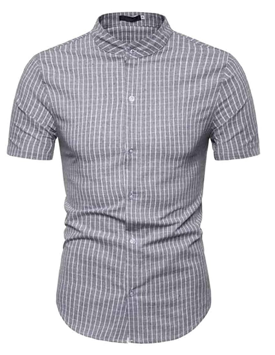 Fubotevic Mens Stand Collar Button Down Short-Sleeve Casual Plaid Dress Work Shirt