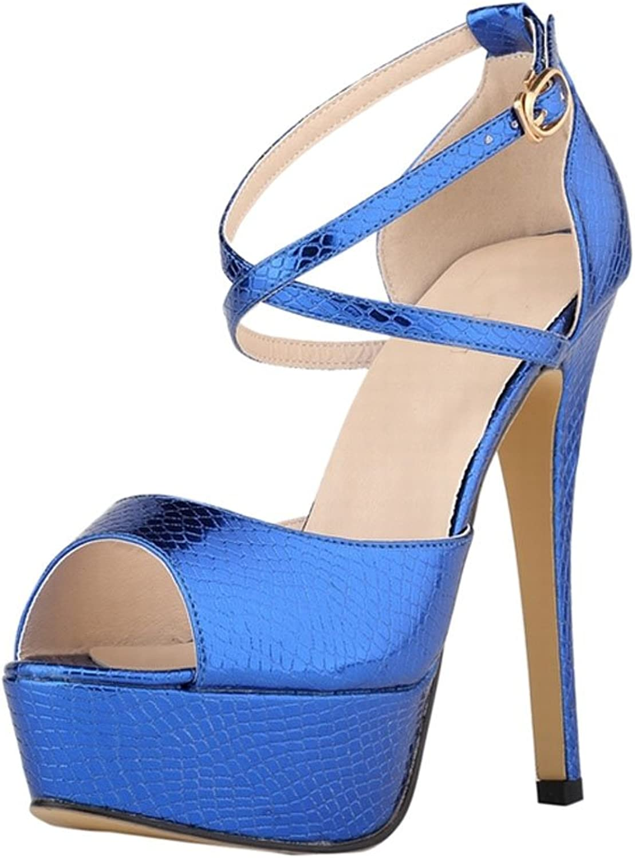 Meijunter Ladies New Platform Fish Mouth High Heel Sandals Party Club Buckle Single shoes bluee