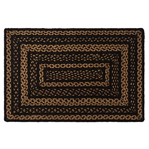 VHC Brands Farmhouse Jute Rectangular Rug 20x30 Country Braided Flooring, Country Black and Tan