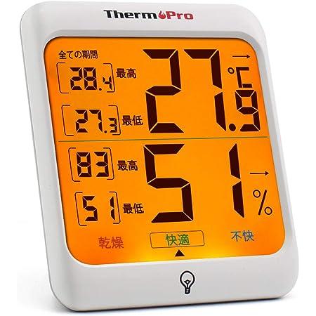 ThermoProサーモプロ 温湿度計 室内温度計デジタル キャンプ温度計 最高最低温湿度値表示 LCDバックライト機能付きTP53