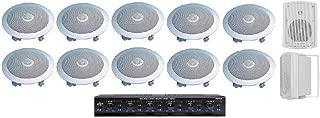 "Home Audio Whole House Speaker System- 12 Speakers: 5pr- Flush 8"" Round Speakers, 1pr- Outdoor Speakers & Switcher"