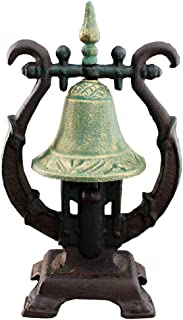 Sungmor Vintage Cast Iron Desktop Hand Ringing Bell Sibel Shape Dinner Bell | Wrought Iron Rattle Dinner Bell Tabletop Ornaments | Ideal for Bars,Restaurants,Cafes,Villas,etc.