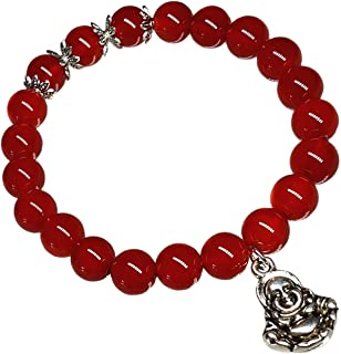 Feng Shui Handmade red agate Bracelet for Protection Wealth (With a Betterdecor Pouch) (Money Buddha)