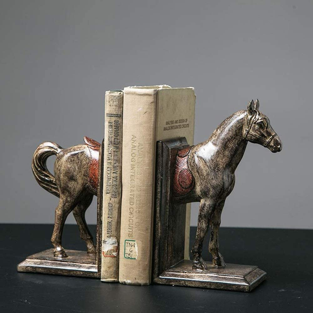 JF-XUAN Bookends Creative Resin Steed Baltimore Mall Magazine Bookend Standing Award