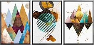 DILALIE Canvas Wall Art with Framed 3 Panel Canvas Prints for Abstract Mountain Wall Artworks Pictures in Living Room Bedroom Decoration, The Pictures for Home Decor,3pcs/Set,12x16in/piece