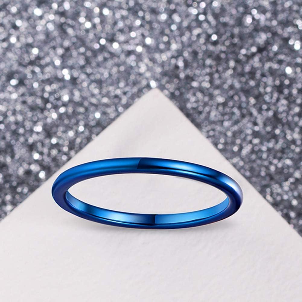 Cloyo 2mm Anelli da Uomo Neri Carburo di Tungsteno Anelli Sottili Banda di Fidanzamento di Nozze Design a Cupola Vestibilit/à Comoda Taglia 12.5-27.5