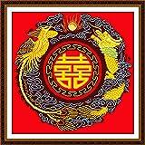 Doble pavo real feliz con dragón y fénix cruzado, 14 ct 11 ct impresión roja bordada tela de costura bordada DIY set de hilo hecho a mano – 11 ct lienzo sin impresión