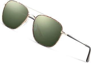 Avoalre - Gafas de Sol Aviador Gafas Polarizadas Hombre Verde de Moda de Estilo Espejo Grande Cuadrada UV400 Marco Inoxidable Lente TAC PL Super Cómodas