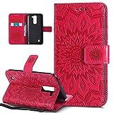 Kompatibel mit LG Stylus 2 Hülle,LG Stylus 2 Schutzhülle,Prägung Mandala Blumen Sonnenblume PU Lederhülle Flip Hülle Cover Schale Ständer Etui Wallet Tasche Hülle Schutzhülle für LG Stylus 2 LS775,Rot