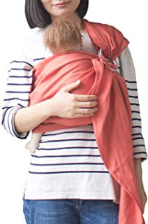 Vlokup Ring Sling Baby Carrier Wrap | Luxury Linen and Cotton Baby Slings for Newborn, Infant, Toddlers, and Kids | Adjustable Metal Aluminum Rings, Lightweight Breathable, Shower Gift, Tangerine