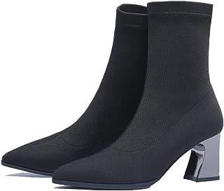 ventas en linea GAOQQ botas De Invierno Invierno Invierno para Mujer Becerro Ancho, Tela Elástica con Punta Metálica Botines De Tacón Alto,negro-CN37  bienvenido a comprar