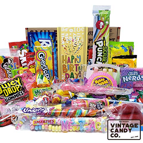 VINTAGE CANDY CO. HAPPY BIRTHDAY FUN CANDY CARE PACKAGE - Modern and Retro Candies Assortment Variety - GAG GIFT BASKET - PERFECT For Adults, College Student, Military, Teens, Man, Woman, Boy or Girl