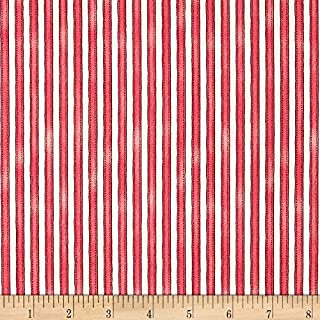 Maywood Studio 0492622 Roam Sweet Home Awning Stripe Soft Red Fabric by The Yard