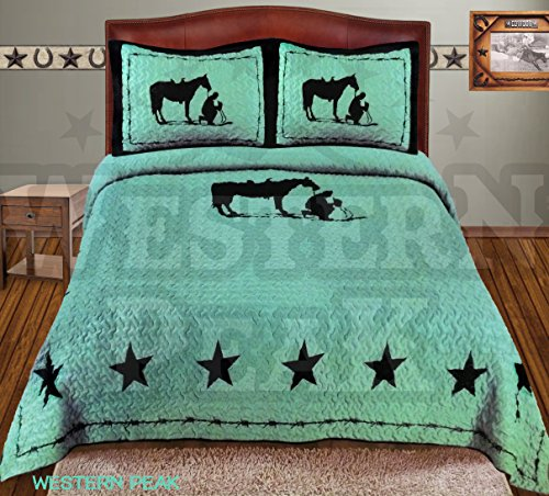 Western Peak 3 Pc Luxury Western Texas Cross Praying Cowboy Horse Cabin Lodge Barbed Wire Luxury Quilt Bedspread OVERSIZE Comforter (Queen, Turquoise)