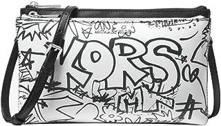 Adele Graffiti Smooth Leather Double Zip Crossbody Purse