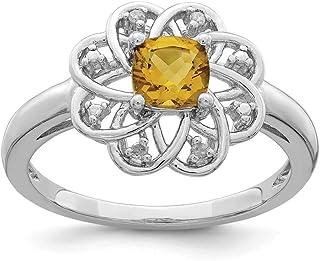 925 Sterling Silver Diamond Whiskey Quartz Band Ring Gemstone Fine Jewelry For Women Gift Set