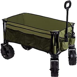 Timber Ridge Folding Camping Wagon/Cart - Collapsible Sturdy Steel Frame Garden/Beach Wagon/Cart Heavy Duty (Renewed)