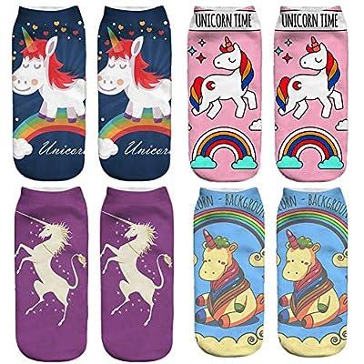 4 pares de calcetines para unicornio 3D de dibujos animados de la novedad Calcetines Calcetines escote para el barco suaves calcetines respirables para niñas
