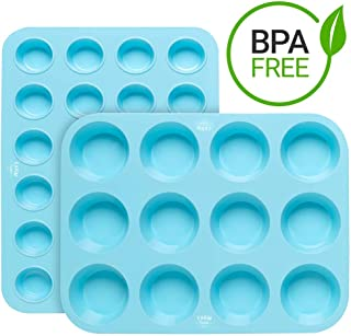 Silicone Mini and Large Egg, Muffin and Cupcake Pan 12 24 Tin Cup - BPA Free Non Stick Muffin Pan - 100% Non-Toxic, Professional Grade Heavy Duty 320g Silicone (12-cup and 24-cup pan set)