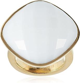 خاتم مصنوع من الستانلس ستيل المطلي بالروديوم والمرصع بالزجاج الكريستالي بلون ابيض رائع للنساء من اسبريت ESRG11568C