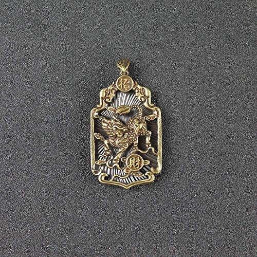 WPXBF Bronze Sculpture Copper Beast Qi Lin Big Pendant Necklace Ancient Animal Lucky Kirin Chinese Letter Blessing Birthday Present