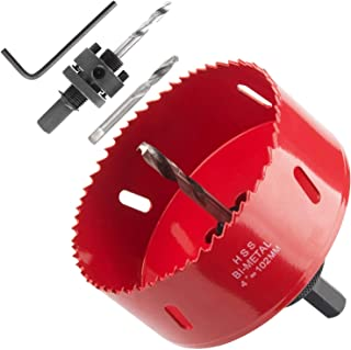 Heavy Duty 4 Hole Saw with Arbor, Abuff 38mm Depth Bi-Metal HSS 4 Inch Hole Saw Blade With Positive Rake Teeth For Cutting Soft Metal, Drywall, Plastic, Wood, Fiberboard