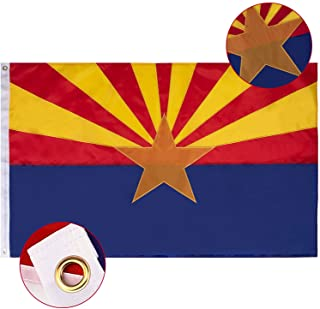 FLAGBURG Arizona Flag 3x5 FT, AZ State Flags with Embroidered Star, Sewn Stripes (Not Print), Canvas Header & Brass Gromme...