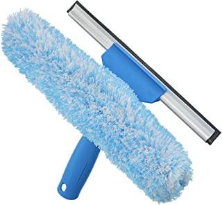 """Unger Professional Window Cleaning Tool: 2-in-1 Microfiber Scrubber and Squeegee, 10"""""""