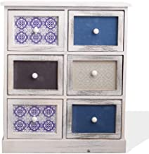 Rebecca Furniture Wooden Dressing Table 6 Drawers White Light Blue Retro 70x60x30