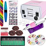 iMeshbean Colorful Complete Professional Improved 30000 RPM Electric Nail File Drill Acrylic Pedicure Machine Bits Kit Amazing DIY Tool USA (Pink)